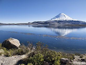 Chungará Lake - The volcano Parinacota rises over Chungará