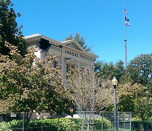 Napa County Courthouse Plaza - 2014 earthquake damage to the 1878 courthouse building