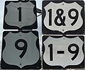 2016-03-12 Collage of various signage styles along U.S. Route 1 and U.S. Route 9 (U.S. Route 1&9) in northeastern New Jersey.jpg