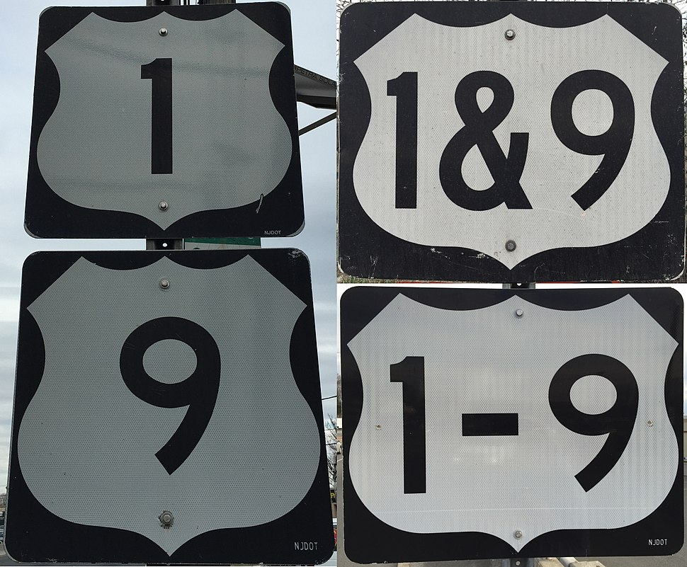 2016-03-12 Collage of various signage styles along U.S. Route 1 and U.S. Route 9 (U.S. Route 1&9) in northeastern New Jersey