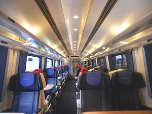British Rail Class 222 - The refurbished interior of First Class aboard an East Midlands Trains Class 222