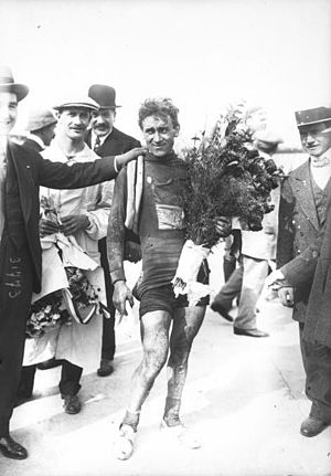 1913 Tour de France - Philippe Thys, winner of the 1913 Tour de France, after finishing the race