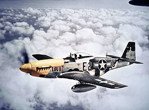 "361st Fighter Group - North American P-51D-5-NA Mustang 44-13410 ""Lou IV / Athelene"" (E2-C) of Lt Col Thomas J. J. Christian, Jr., CC of the 375th Fighter Squadron (KIA while attacking the Arras marshaling yards on 12 August 1944. MACR 7784)"