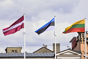 Baltic states - The flags of the 3 Baltic states in front of Freedom Monument