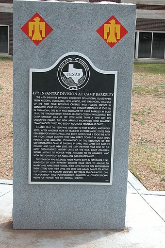 A monument at the University of North Texas commemorating the 45th Infantry Division's time in Texas as it trained at Camp Barkeley in 1940. - 45th Infantry Division (United States)