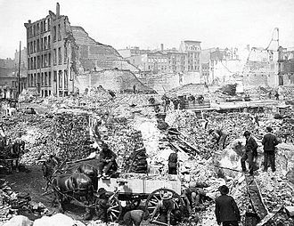 Great Fire of Toronto (1904) - Surveying the damage on Front Street after the fire.