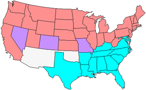 60th United States Congress - Map showing Senate party membership at the start of the 60th Congress. Red states are represented by two Republicans and blue by two Democrats. Purple states are represented by one senator from each party.