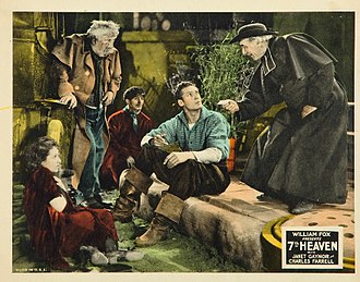 Albert Gran - Lobby card for 7th Heaven (1927) with Gran standing at left