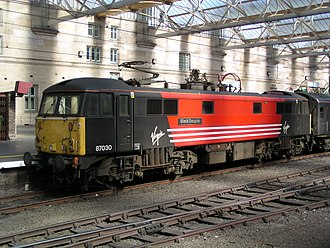 Electric locomotive - A Virgin Trains British Rail Class 87 electric locomotive at Carlisle in 2004.