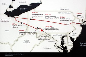 A439, Flight 93 National Memorial, Stonycreek Township, Pennsylvania, United States, memorial sign, flight path.jpg