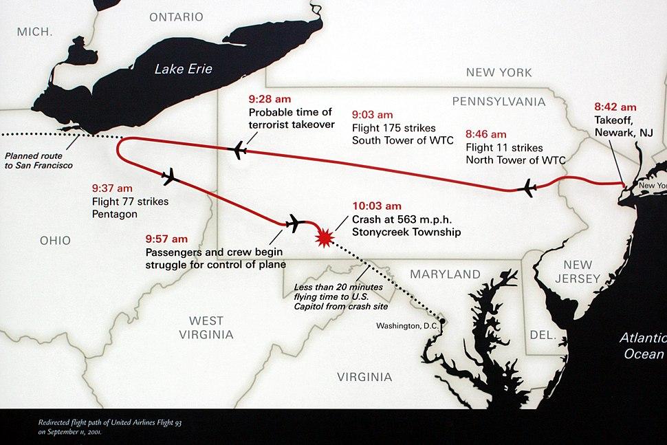 A439, Flight 93 National Memorial, Stonycreek Township, Pennsylvania, United States, memorial sign, flight path