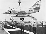 A4D-2 of VA-164 is craned aboard USS Oriskany (CVA-34) 1962.jpg