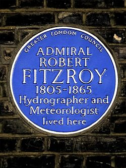 Admiral robert fitzroy 1805 1868 hydrographer and meteorologist lived here