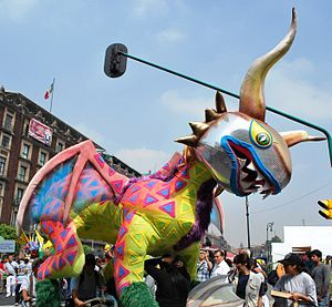 Mexico City Alebrije Parade - Alebrije name Alebrije Luchador at the 2009 event in the Zocalo