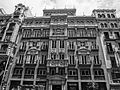 A Black and white photograph of a building at Gran Via, Madrid Spain 015.JPG