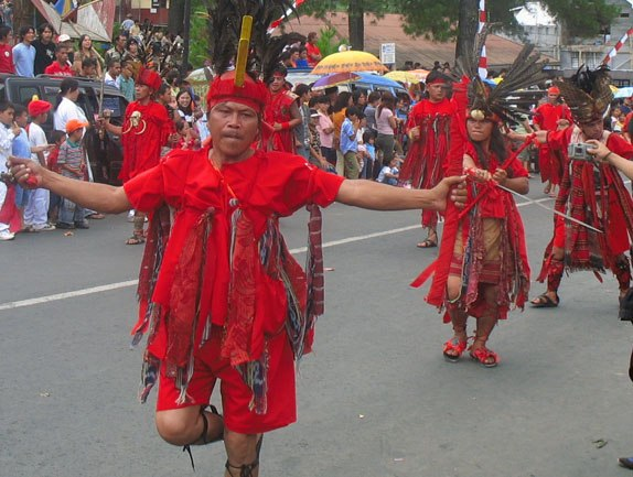 A Kabasaran war dance, performed at a parade, 2006