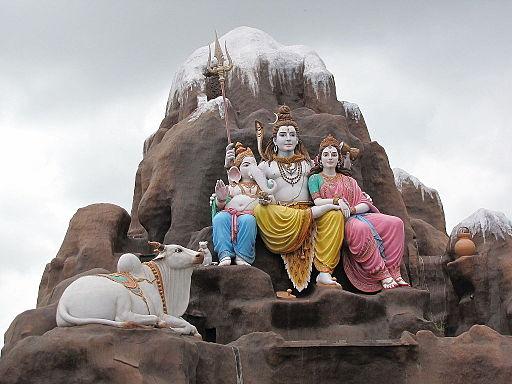 A family sculpture Parvati Shiva Ganesha at punyadham ashram
