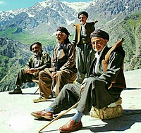 A group of Kurdish men with traditional clothing at Hawraman, Kurdistan.jpg
