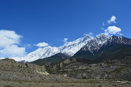 A stunning view of mountain in background while going to Dhumba Lake, Jomsom, Mustang.