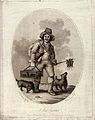 A rat-catcher (accompanied by two dogs) carrying a cage of l Wellcome V0020299.jpg