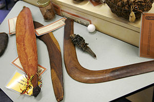 Military history of Oceania - At left, an Australian Aboriginal spear-thrower (called woomera in the Eora language)