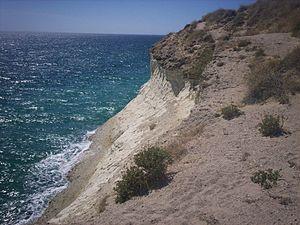 Biedma Department - Shore cliffs common along the Patagonian shore.