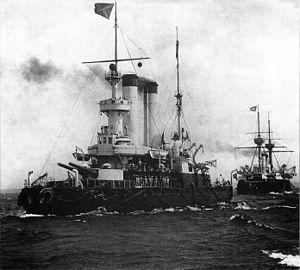254mm 45 caliber Pattern 1891 - Image: Admiral Ushakov&Imperator Aleksandr II1902