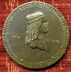Adriano fiorentino, medaglia di ferdinando d'aragona principe di capua.JPG