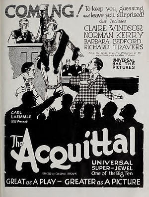 The Acquittal - Advertisement in Universal Weekly