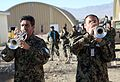 Afghan National Army soldiers assigned to the 203rd Corps band play a musical selection using new instruments donated by the U.S. Army's 101st Airborne Division Band Dec. 14, 2013, at Forward Operating Base 131214-A-YW808-113.jpg