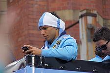Agüero tomando fotos en la celebración del título de la Premier League 2011-12