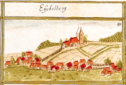 View of Aichelberg, Aichwald, from the forest register books created by Andreas Kieser