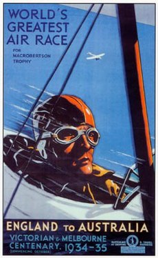 """Poster of aviator's head in goggles, in a biplane, captioned """"WORLD'S GREATEST AIR RACE"""" and """"ENGLAND to AUSTRALIA"""", 1934–35"""