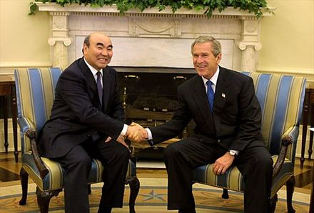 President Askar Akayev (1990-2005) with U.S. President George W. Bush, 22 September 2002 Akayev-Bush.jpg
