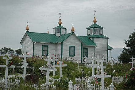 Orthodox churches are common in Alaska, particularly in the southern and southwest portions of the state. Alaska Russian Orthodox Church.jpg