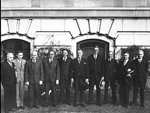 Richard Gavin Reid - Reid, fourth from the left, among members of the Alberta and Saskatchewan cabinets, c. 1930.