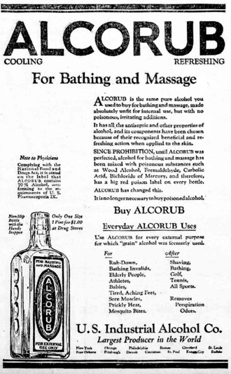 United States Industrial Alcohol Company - Alcorub product. Made by the Company during Prohibition as a pure alcohol with no denaturants.