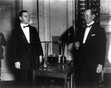 00263c0db American electrical engineer Alfred Norton Goldsmith and Marconi on 26 June  1922.