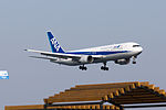 All Nippon Airways, NH974, Boeing 767-381ER, JA613A, Arrived from Shanghai, Kansai Airport (17187434411).jpg