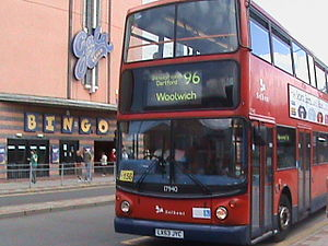 Selkent - Alexander ALX400-bodied Dennis Trident 2 on route 96 in Bexleyheath, August 2008, in Stagecoach livery with Selkent hops logos