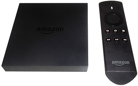 Amazon Fire TV Amazon Fire TV with remote.JPG