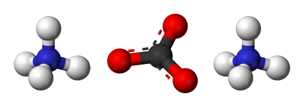 Ball-and-stick model of two ammonium cations and one carbonate anion