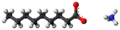 Ammonium nonanoate ions ball.png