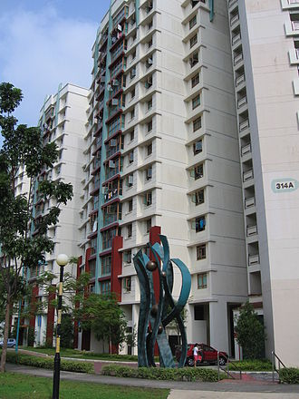 Sengkang - A typical apartment block in Anchorvale Gardens, showing the characteristic pilotis effect on the column façade.