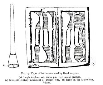 Hippocrates - A number of ancient Greek surgical tools. On the left is a trephine; on the right, a set of scalpels. Hippocratic medicine made good use of these tools.