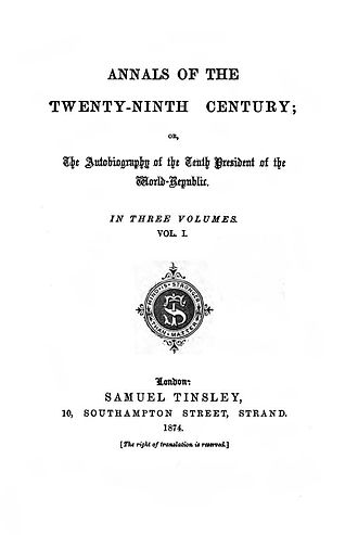 Annals of the Twenty-Ninth Century - First edition title page