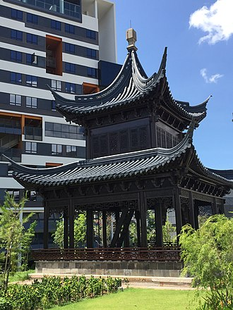 Singapore University of Technology and Design - An antique Chinese pavilion donated to the University by Hong Kong actor Jackie Chan