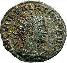 Man wearing a crown on a Roman coin
