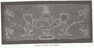 Antwerp lace type of bobbin lace, often depicting vases of flowers