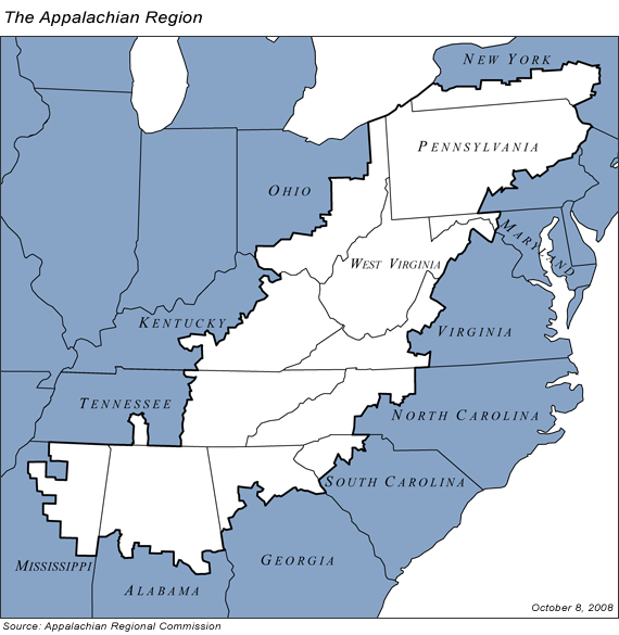 Areas included under the Appalachian Regional Commission's charter